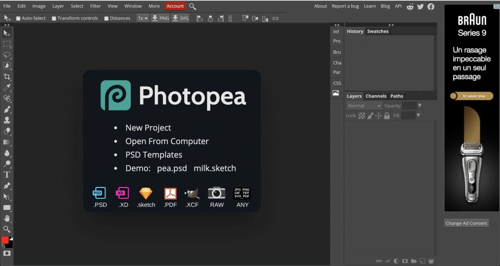 Photopea: une des meilleures alternatives gratuites à photoshop en ligne
