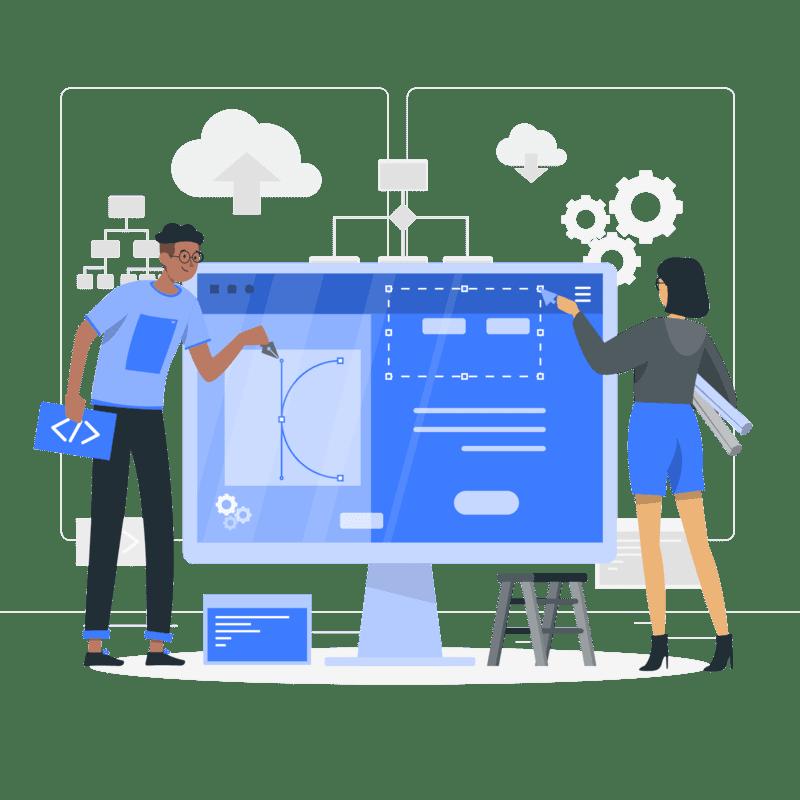 Deux concepteurs web travaillant ensemble