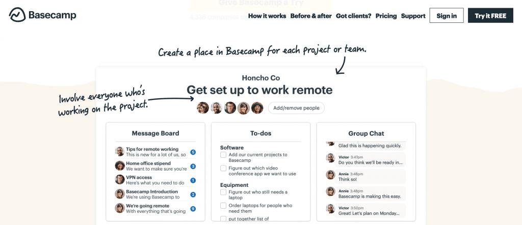 Logiciel de gestion de projet Basecamp