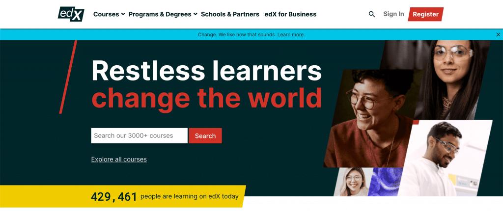 La plateforme de cours en ligne Edx