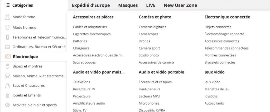 Les catégories sur Aliexpress