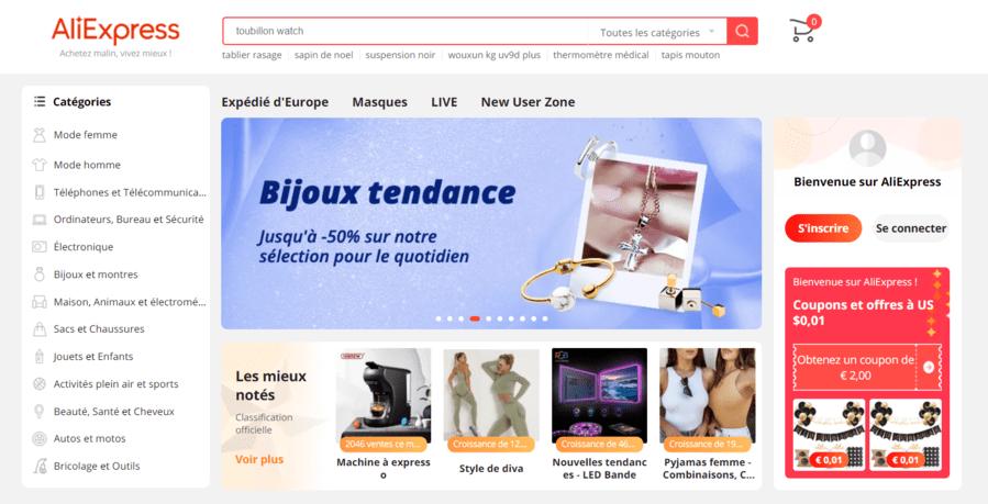 Le site de vente Aliexpress