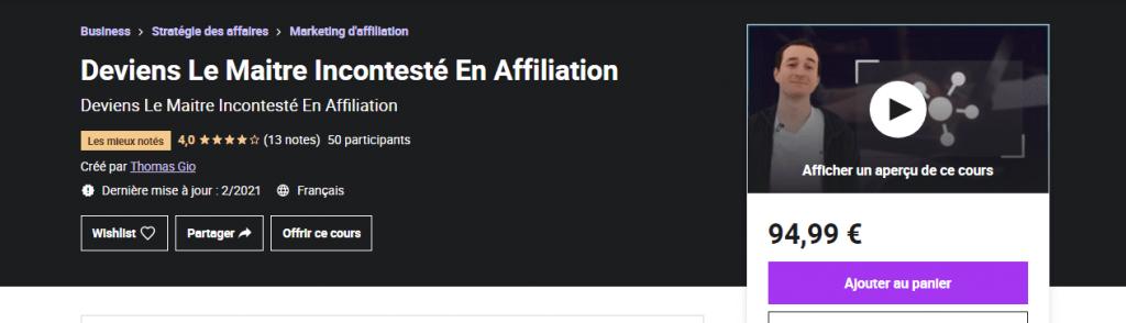 Formation affiliation maitre