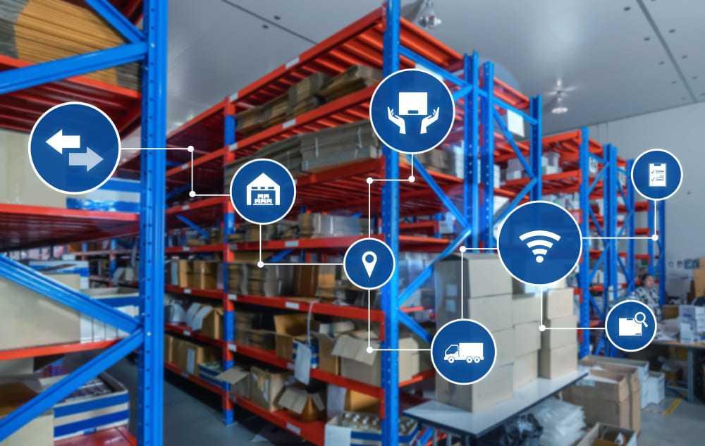 Symboles d'une chaîne logistique moderne